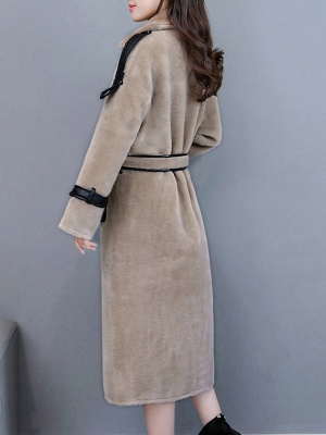 Solid Paneled Long Sleeve Fur And Shearling Coats_7