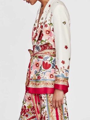 Red Deep V-Neck Long Sleeve Belts Printed Floral Coat_5