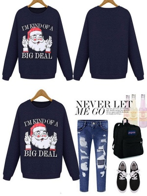 Plus Size Funny Christmas Sweatshirts Letter Santa Claus Printed Cute Thick Fleece Loose Sweats Womens_2