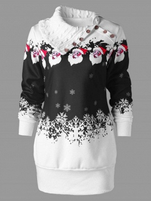 Santa Claus Printed Plus Size Tunic Sweatshirt Dress_2