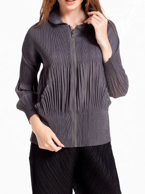 Casual Zipper Long Sleeve Hoodie Pleated Pockets Coat_3