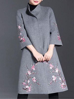 Long Sleeve Floral-embroidered Casual Floral Coat_3