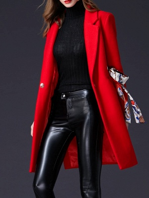 Red Casual Buttoned Lapel Coat_8