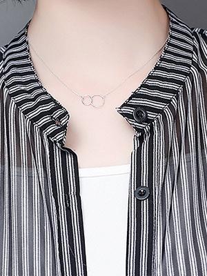 al Shirt Collar 3/4 Sleeve See-through Look Chiffon Striped_7