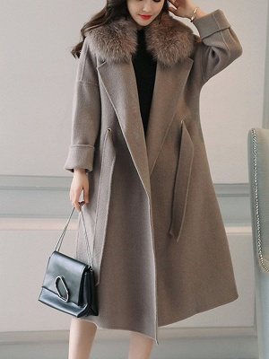 Gray Elegant A-Line Hoodie Fur And Shearling Coats_1