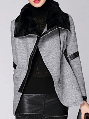 Paneled Long Sleeve Casual Shawl Collar Artificial Leather And Shearling Coat_1