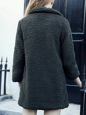 Green Solid Shift Faux Fur Casual Long Sleeve Fur and Shearling Coat_3
