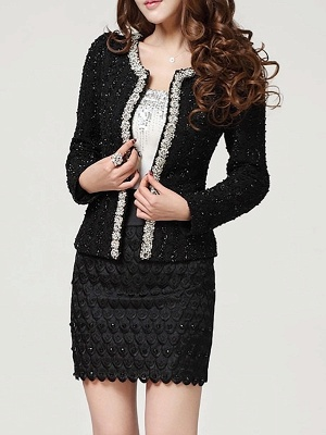 Beaded Solid Work Swiss-dot Coat with Brooch_6