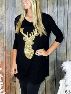 Casual Christmas Sequined Deer Printed Long Sleeves Cotton Loose T-shirt for Womens_2