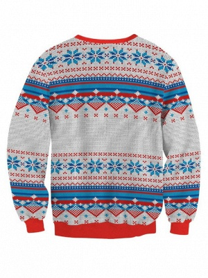 Merry Christmas Snowflake Printed Long Sleeves Ugly Jumpers Sweaters for Women_3