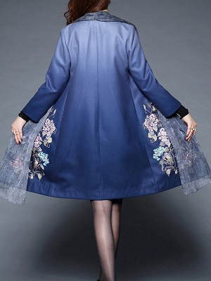 Blue Casual Paneled Shift Floral Coat_3