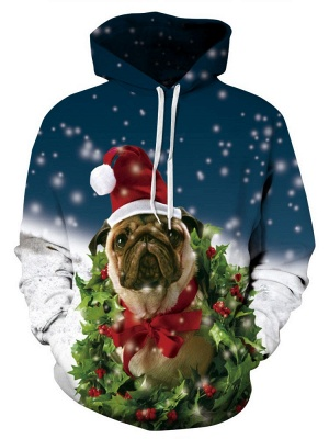 Women/Men Ugly Christmas Dog Printed Hoodies Plus Size Couple Jacket Hooded Clothes_2