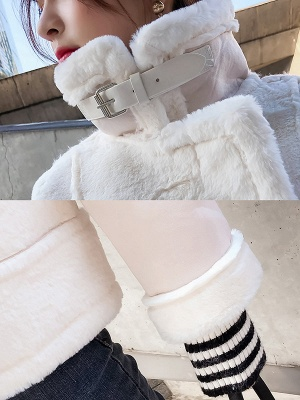 Buttoned Solid Shawl Collar Fur And Shearling Coats_9