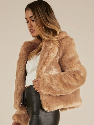 Yellow Brown Long Sleeve Casual Fluffy Fur And Shearling Coats - StyleWe.com_4