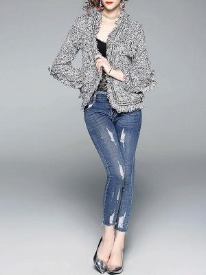Gray Long Sleeve Casual Paneled Fur and Shearling Coat_4