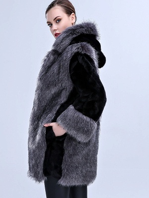 Gray Fluffy Hoodie Solid Fur And Shearling Coats_5
