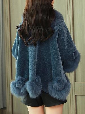 Paneled Shawl Collar Long Sleeve Fur And Shearling Coats_6