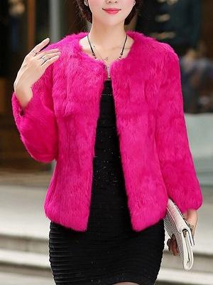 Casual Shift Long Sleeve Fur And Shearling Coats_2