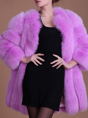 Long Sleeve Casual Solid Paneled Fur and Shearling Coat_5