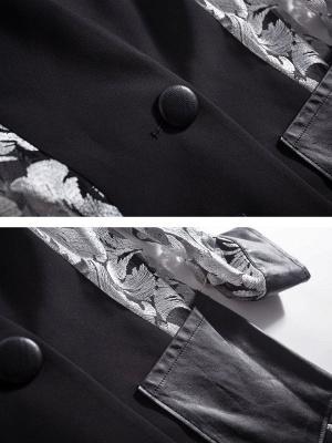 Gray Long Sleeve Casual Abstract Shift Coat_6
