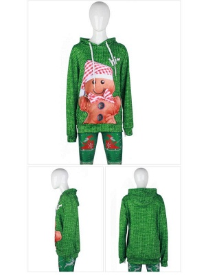 Couple's Christmas Hoodies Green Gingerbread Man Printed Casual Hooded Clothes for Men/Women_6