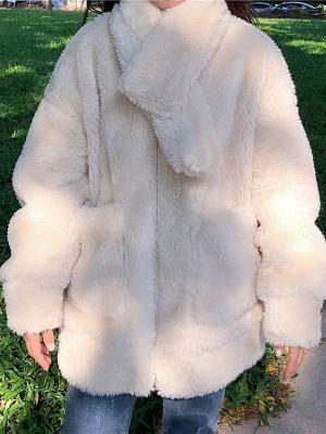 Long Sleeve Pockets Casual Fur And Shearling Coats_1
