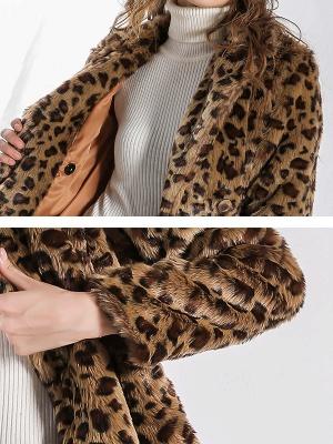 Camel Shawl Collar Shift Casual Long Sleeve Fur and Shearling Coat_5