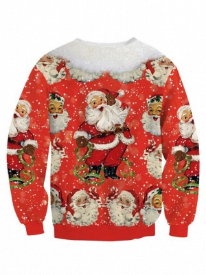 Red Santa Claus Printed Long Sleeves Ugly Christmas Sweatshirt for Women_3