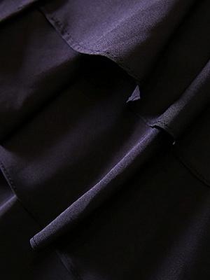 Black Long Sleeve Zipper Casual Flounce Crew Neck Coat_5