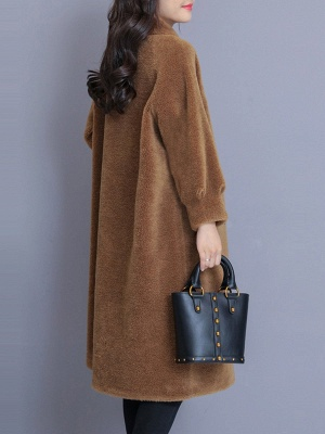 Casual Buttoned Pockets Fur And Shearling Coats_6