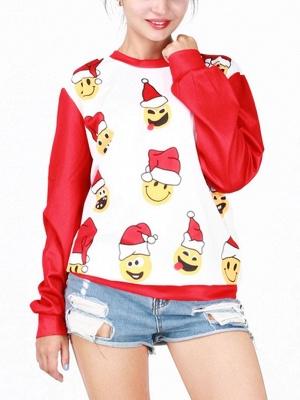 Men/Women Red Cute Cartoon Santa Claus Printed Cotton Thin Funny Christmas T-shirts_4