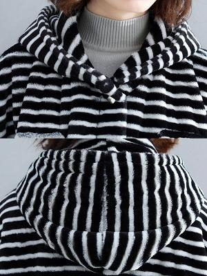 Hoodie Color-Block Fur And Shearling Coats_7