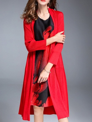 Red Shift Pockets Long Sleeve Coat_1