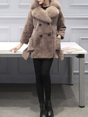 Fluffy Paneled Buttoned Pockets Fur and Shearling Coat_7
