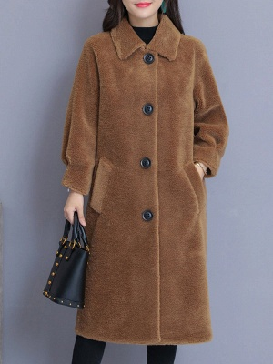 Casual Buttoned Pockets Fur And Shearling Coats_1