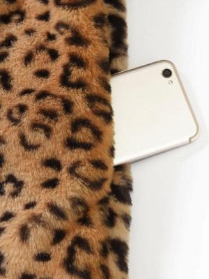 Brown Shawl Collar Casual Shift Pockets Fur And Shearling Coats_6