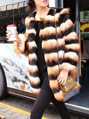 Black-Yellow Long Sleeve Faux Fur Shift Striped Casual Fur and Shearling Coat_4