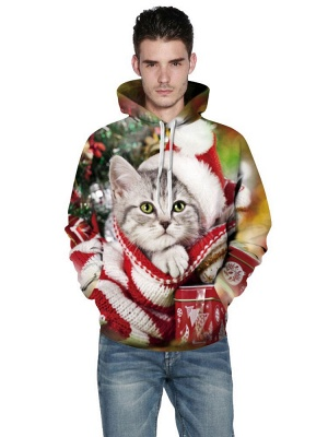 Plus Size Couple Hoodies Fashion Ugly Christmas Cat Printed Hooded Clothes for Women/Men_6