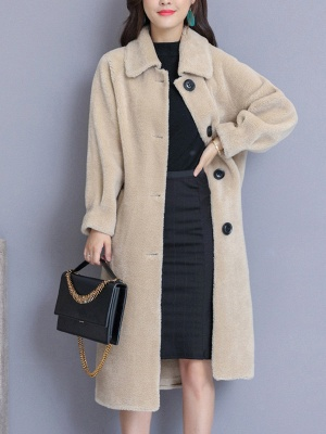 Casual Buttoned Pockets Fur And Shearling Coats_3