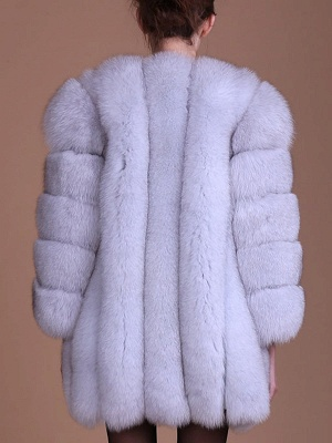 Long Sleeve Casual Solid Paneled Fur and Shearling Coat_8