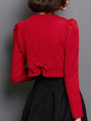 Bow Casual Solid Long Sleeve Flowers Coat_2