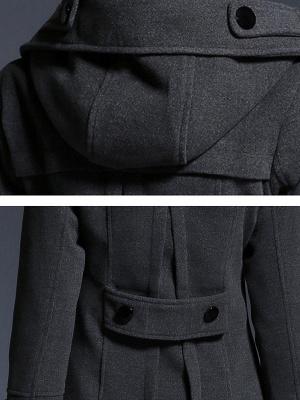 Gray Casual Long Sleeve Hoodie Coat_5