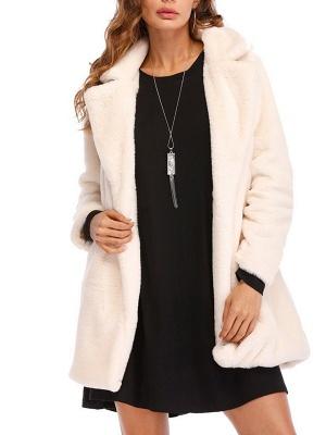 Long Sleeve Pockets Fluffy Fur and Shearling Coat_1