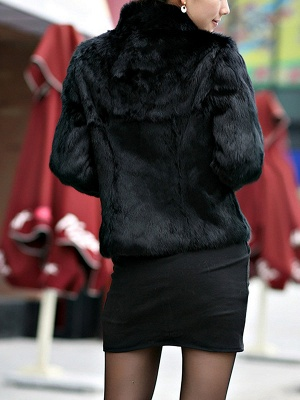 Stand Collar Solid Long Sleeve Fur and Shearling Coat_6