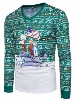 Mens Santa Claus 3D Printed V-neck Long Sleeves Green Ugly Christmas Cotton T-shirts_3