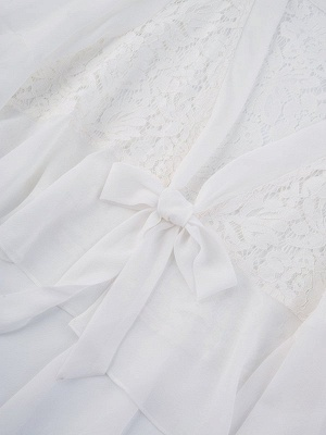 Casual Bell Sleeve Chiffon Solid Asymmetrical Coat_8