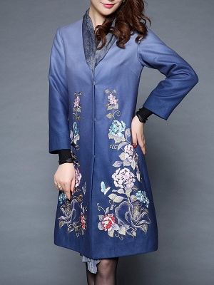 Blue Casual Paneled Shift Floral Coat_8