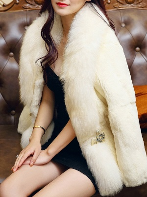 White Casual Shift Fluffy  Buttoned Fur and Shearling Coat_7