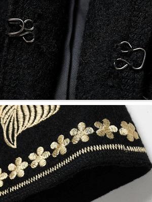 Black Long Sleeve V-Neck Floral-embroidered Coat_6