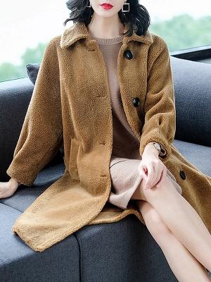 Brown Shawl Collar Casual Fur And Shearling Coats_5